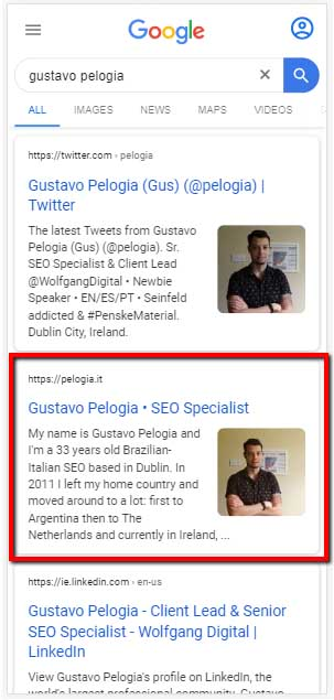 Gustavo Pelogia, mobile serp after